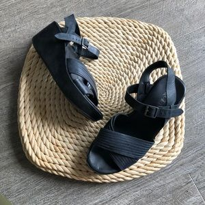 Black Korks by kork-ease leather wedge